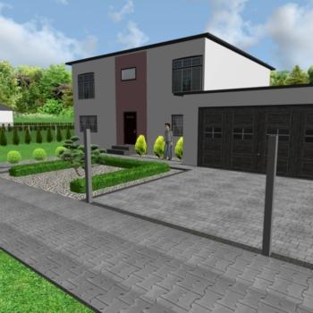Projekt 3d ułożenia kostki brukowej Salamanca szara, grafit i Polbruk Tetka