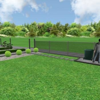 Projekt 3d ułożenia kostki brukowej chodnik i ogrodzenie