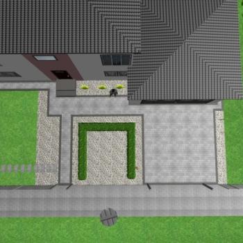 Projekt 3d ułożenia kostki brukowej Salamanca szara, grafit i Polbruk Tetka widok z góry