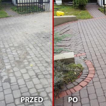 czyszczenie kostki brukowej warszawa wilanów przed i po