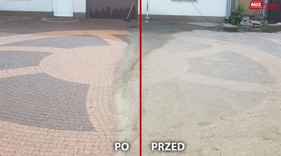 Czyszczenie kostki Warszawa Okęcie 320m przed i po