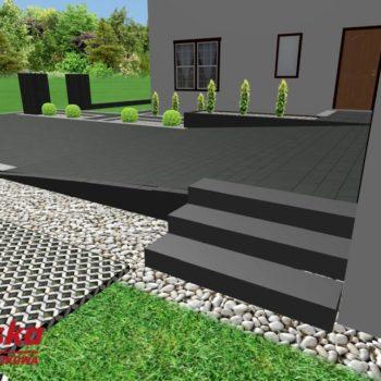 Projekt ułożenia kostki ze schodami