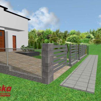 Projekt brukarski 3d podjazd, schody, chodnik, ogrodzenie, brama